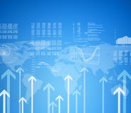Graphs, arrows and world map Stock Image