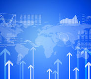 Graphs, arrows and world map Stock Images
