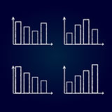 Graphs on blue background. Graphs showing different scenarios on blue background Royalty Free Stock Images