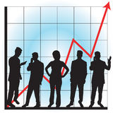 Graphs for business use. Business graphs showing progress and success, with business people silhouettes - additional ai and eps format available on request stock illustration