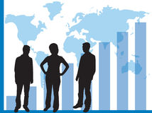 Graphs for business use. Business graphs showing progress and sucess, with business people silhouettes - additional ai and eps format available on request stock illustration