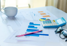 Graphs and calculators Royalty Free Stock Images
