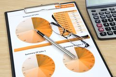 Graphs, charGraphs, charts, business reportts, business report on table. Stock Photography