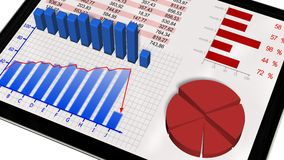 Graphs and chart on tablet pc - Business statistic concept Stock Photo