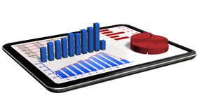 Graphs and chart on tablet pc - Business statistic concept Royalty Free Stock Photo