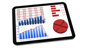 Graphs and chart on tablet pc - Business statistic concept Stock Photography