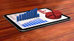Graphs and chart on tablet pc - Business statistic concept. Graphs and chart on tablet pc on wooden table- Business statistic concept Stock Images
