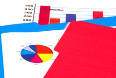 Graphs and charts. Bar graph, pie chart in folders royalty free stock photography