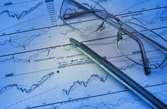 Graphs & Charts. The financial analysis of growth of exchange sales on the basis of diagrammes and schedules Stock Images
