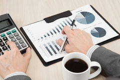 Graphs and charts analyzed Royalty Free Stock Images