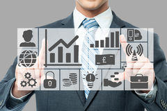 Graphs and charts analyzed by businessman Royalty Free Stock Photo