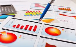 Graphs, charts, business table. Stock Photos