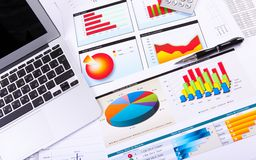 Graphs, charts, business table. The workplace of business people Stock Photo