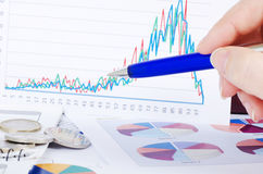 Graphs, charts, business table Stock Images