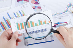 Graphs, Charts, Business Table. The Workplace Of Business People Royalty Free Stock Photos