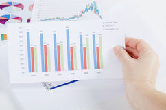 Graphs, charts, business table. The workplace of business people.  Stock Photo