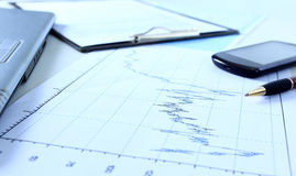Graphs, charts, business table. Stock Photography