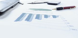 Graphs, charts, business table. The workplace of business people Stock Image
