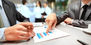 Graphs, charts, business table. The workplace of business people Royalty Free Stock Image