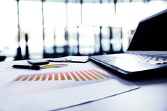 Graphs, charts, business table. The workplace of business people Royalty Free Stock Photo