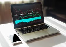 Graphs and charts on computer screen. Technical analysis of financial data. Graphs and charts on computer screen. Analyzing financial data. Workspace concept royalty free stock photos