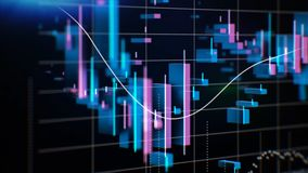 Graphs, charts and data. Perfect Flight through Business Network. Stock. Looped animation. Growing Business Chart with vector illustration