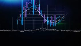 Graphs, charts and data. Perfect Flight through Business Network. Stock. Looped animation. Growing Business Chart with stock illustration