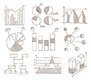 Graphs, Charts and Diagrams. Hand Drawn Business Royalty Free Stock Photography