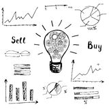 Graphs and charts. Doodle graphs and charts. The idea of the concept of buying and selling. Vector Illustration Stock Images