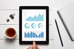 Graphs and charts elements on tablet screen with office objects. On white wooden table. All screen content is designed by me. Flat lay Royalty Free Stock Photos