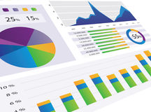Graphs and Charts. Gorgeous series of modern graphs and charts Royalty Free Stock Photo