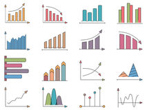 Graphs and Charts Icons. Graphs and charts, set of colored icons Stock Photography
