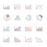 Graphs and charts icons set. Graphs and charts thin line icons set. data elements, bar and pie, diagrams for business infographics. visualization of data Stock Photos