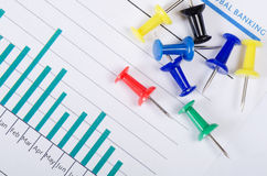 Graphs, charts with multi-coloured push buttons Royalty Free Stock Image