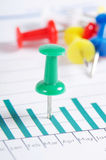 Graphs, charts with multi-coloured push buttons Royalty Free Stock Images