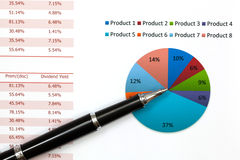 Graphs and Charts Report. With pen Stock Photography