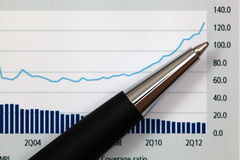 Graphs and Charts Report. With pen Stock Image
