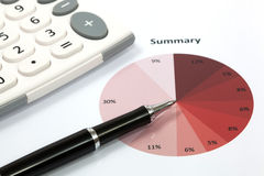 Graphs and Charts Report. With pen Royalty Free Stock Photo