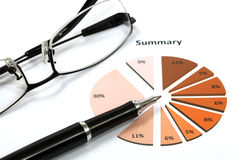 Graphs and Charts Report. With pen Royalty Free Stock Image