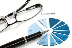 Graphs and Charts Report. With pen Stock Photo