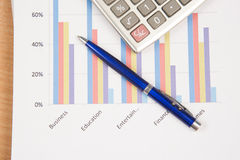 Graphs and Charts Report with pen Royalty Free Stock Photos