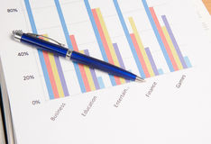 Graphs and Charts Report with pen Royalty Free Stock Image