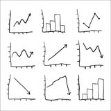 Graphs and Charts. Set of hand drawn graphs and charts Royalty Free Stock Photography