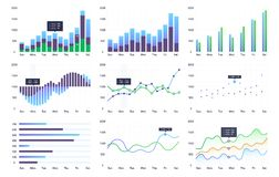 Graphs and charts set. Statistic and data. Information  infographic, vector illustration Royalty Free Stock Image