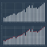 Graphs and charts set. Statistic data, information infographic. Graphs and charts set. Statistic and data, information infographic with cross lines background Royalty Free Stock Image
