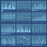 Graphs and charts. Set. Statistic and data, information infographic. Vector illustration Stock Photography
