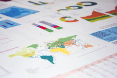 Graphs and charts. On the table Royalty Free Stock Photography
