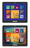 Graphs and charts on a tablet computer Royalty Free Stock Image