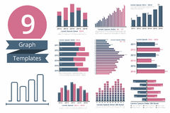 Graphs and Charts Templates. For statistics or data visualization, set of 9 infographic templates for reports and presentations Royalty Free Stock Photo