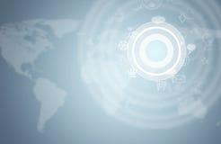 Graphs, circles and world map Stock Image